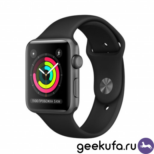 Часы Apple Watch Series 3 42mm Space Gray Aluminum Case with Gray Sport Band Уфа купить в интернет-магазине