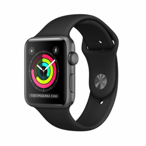 Часы Apple Watch Series 3 42mm Space Gray Aluminum Case with Black Sport Band Уфа купить в интернет-магазине